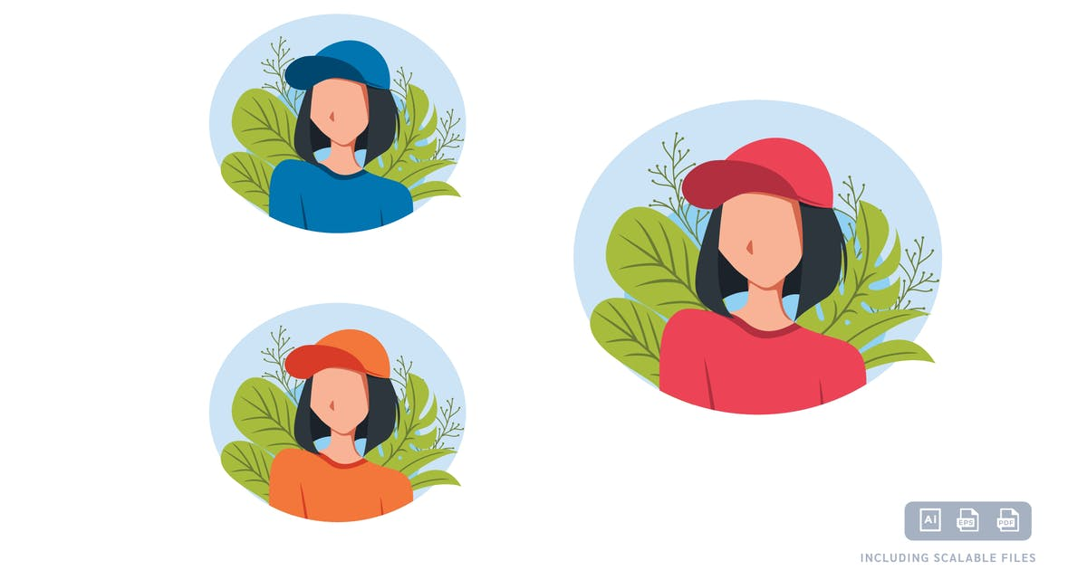 Download Girl Hat - Avatar Ilustration Template by axelartstudio