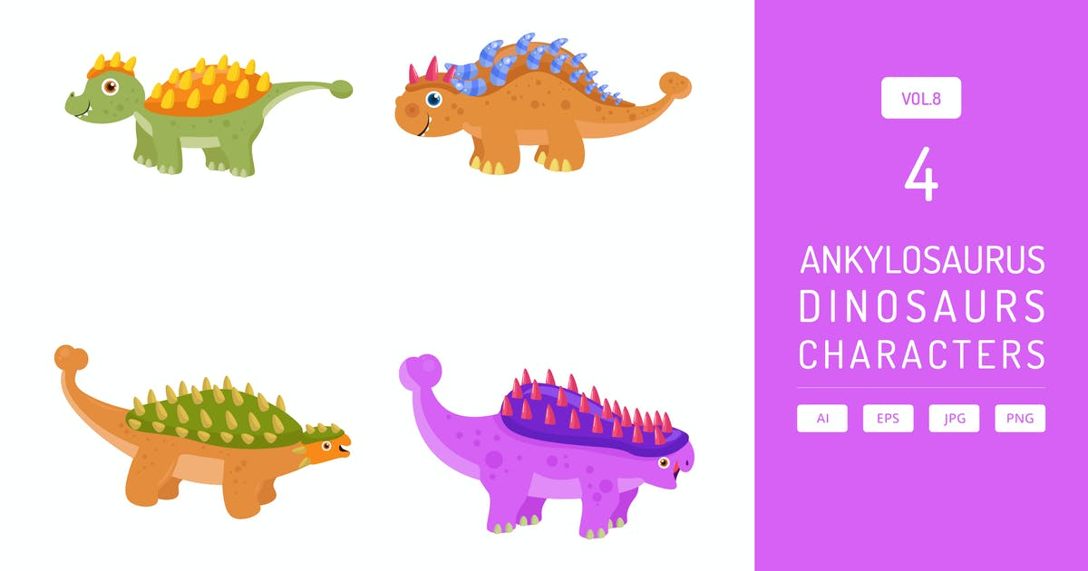 Download Cute Ankylosaurus - Dinosaurs Character Vol.8 by Graphiqa