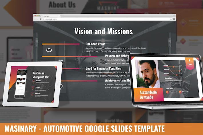Thumbnail for Masinary - Automotive Google Slides Template