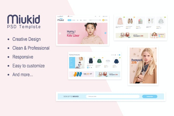 Thumbnail for Miukid - Ecommerce PSD Template