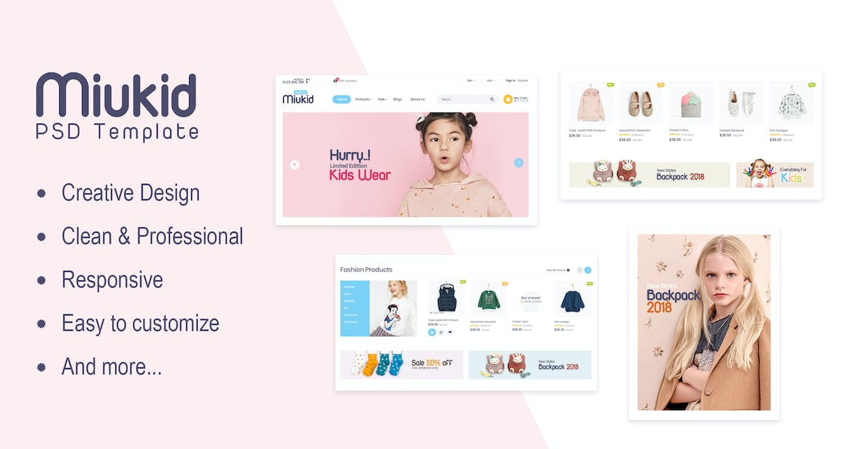Download Miukid - Ecommerce PSD Template by Pixel-Creative