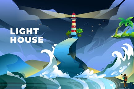 Lighthouse - Vector Illustration