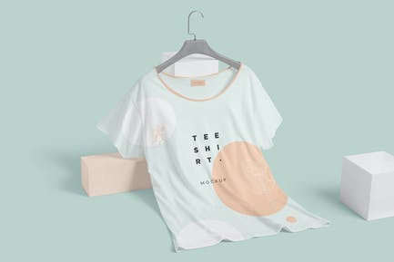 Wide Neck Half Sleeves T-Shirt Mockups