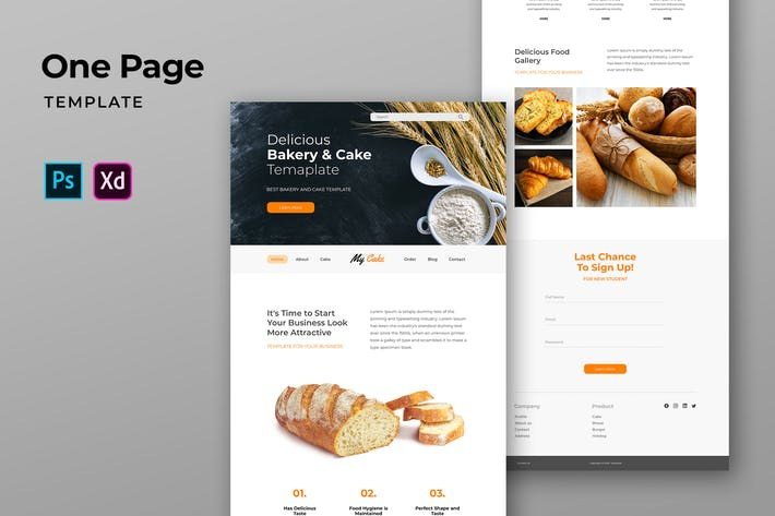 Thumbnail for Bakery One Pages Template