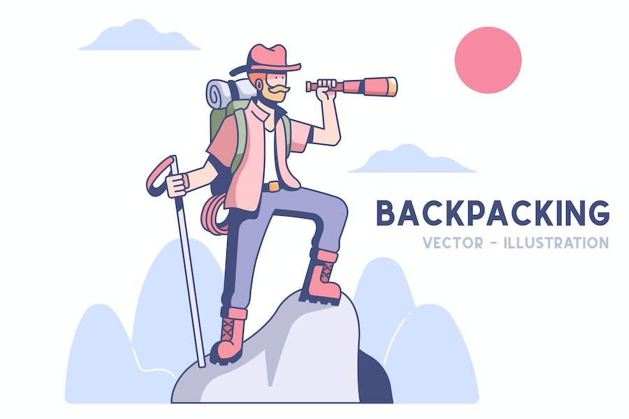 Backpacking Illustration