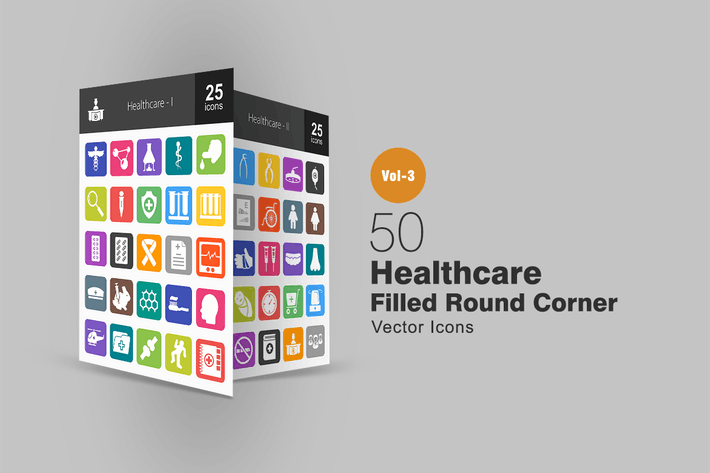 Thumbnail for 50 Healthcare Flat Round Corner Icons