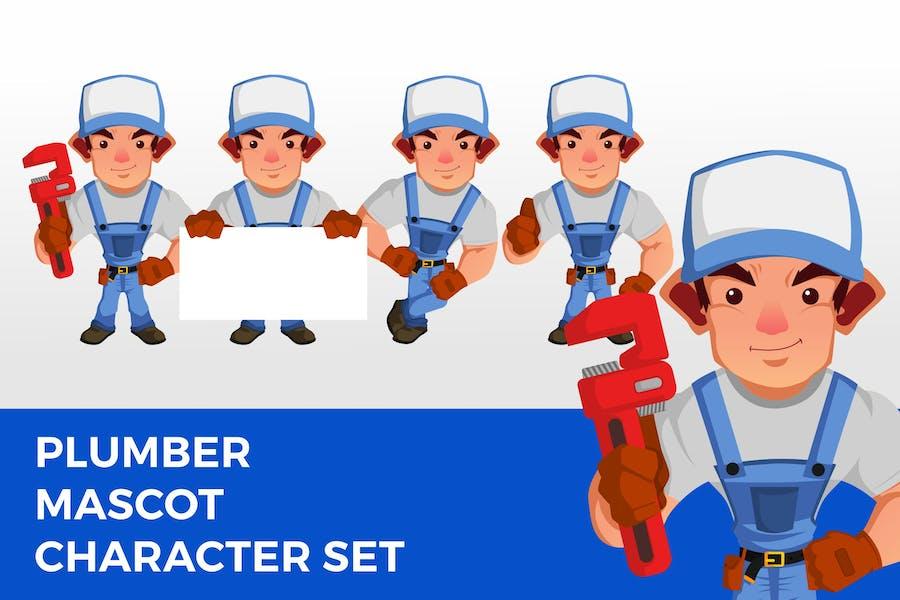 Plumber Mascot Character Set