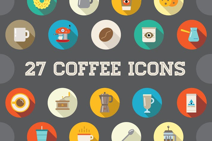 Thumbnail for 27 Vector Coffee Flat Icons