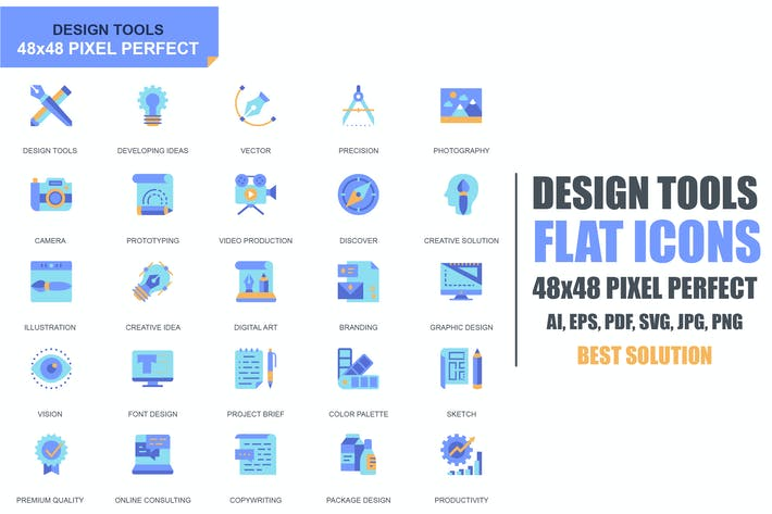 Cover Image For Simple Set Design Tools Flat Icons