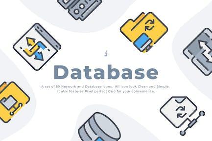 50 Network and Database icon set
