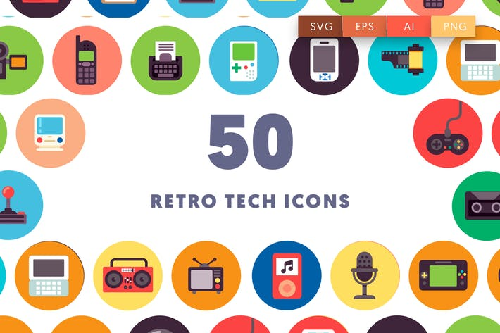 Cover Image For 50 Retro Tech Icons