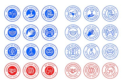 Set of Badges for Covid-19 Prevention