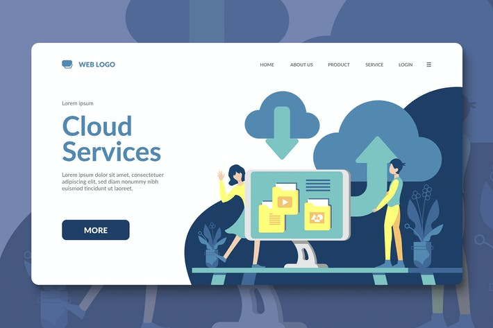 Thumbnail for Cloud Service Landing Page Template