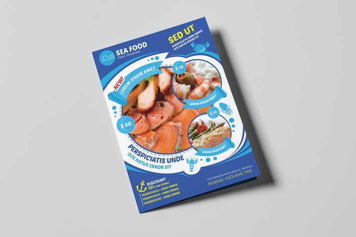 Thumbnail for Seafood Restaurant-A5 Brochure/Leaflet Template