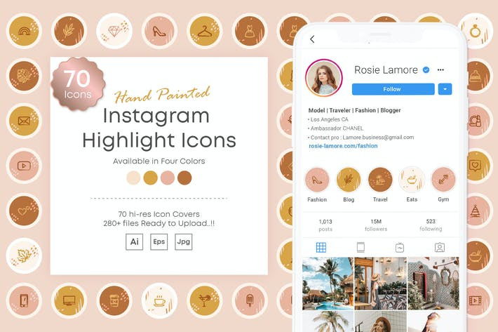 Thumbnail for Instagram Highlights Covers Icon Kit Hand painted