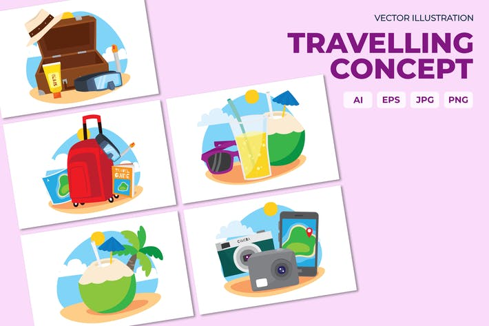 Thumbnail for Travelling illustration concept