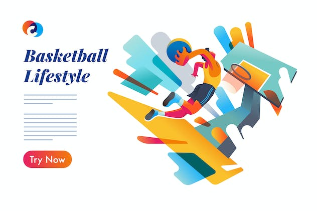 Basketball event page - Mixcolor style vector