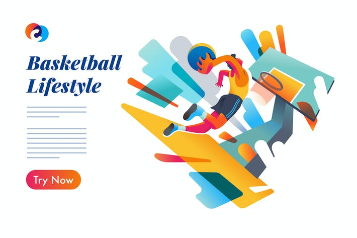 Thumbnail for Basketball event page - Mixcolor style vector