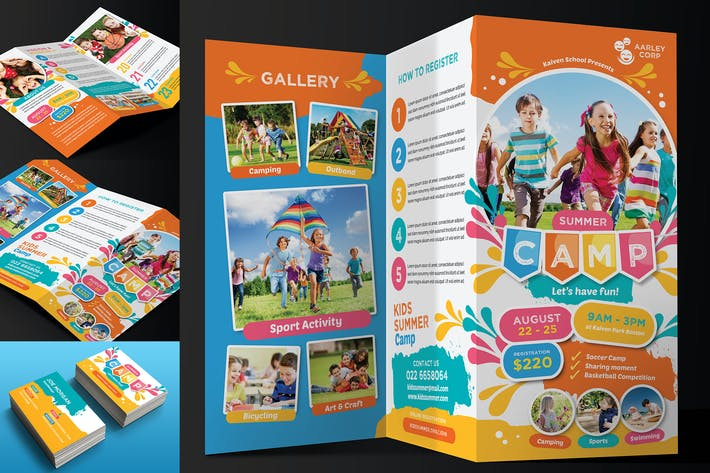 Thumbnail for Kids Summer Camp Trifold + Business Card