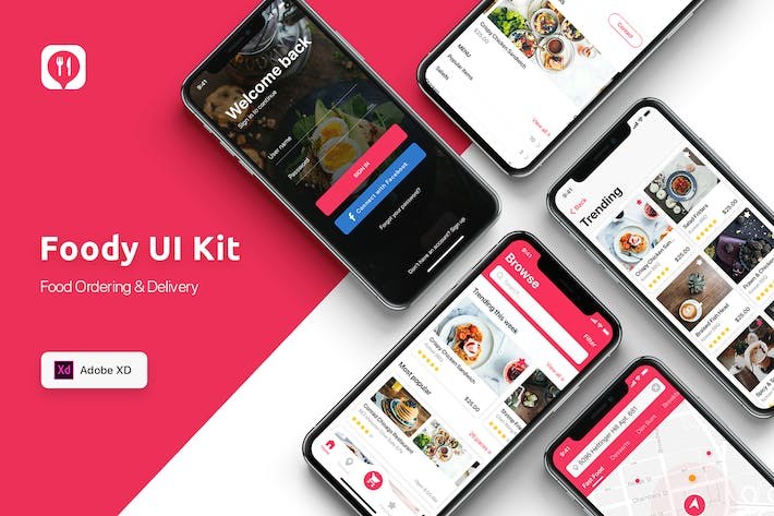Thumbnail for Food ordering & Delivery UI Kit for ADOBE XD