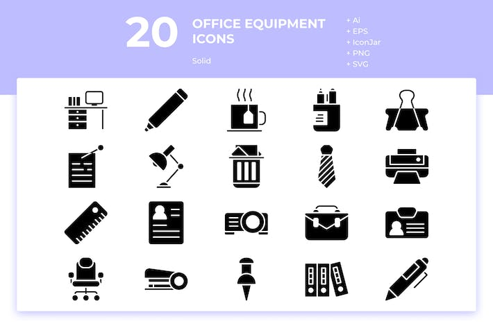 Thumbnail for 20 Office Equipment Icons (Solid)