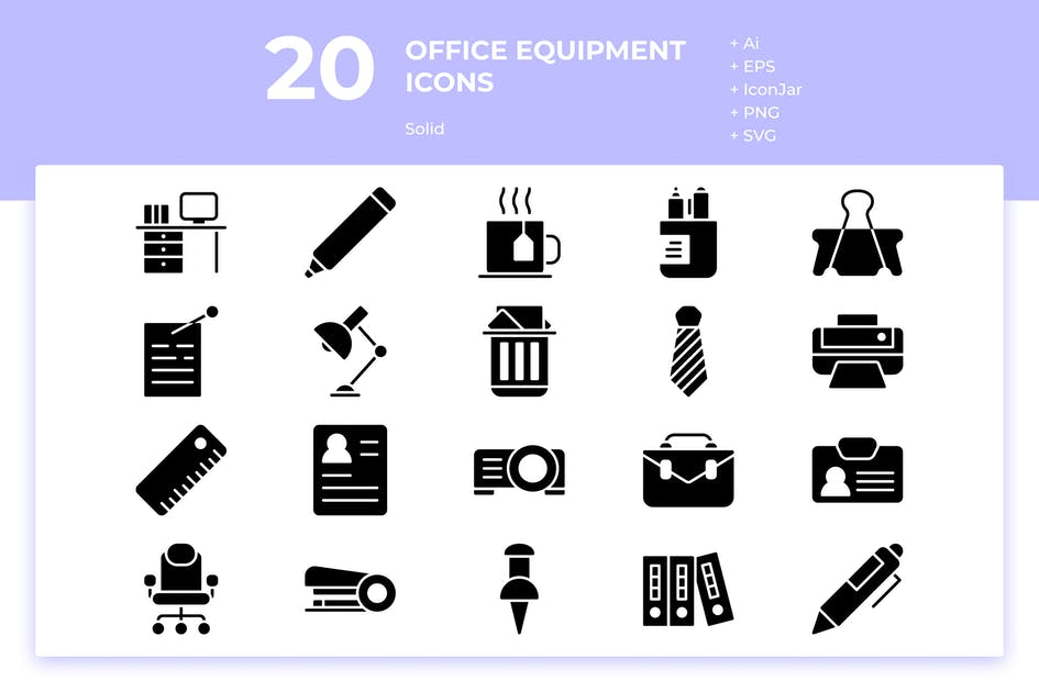 Download 20 Office Equipment Icons (Solid) by inipagi