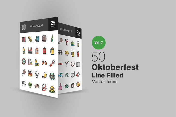 Thumbnail for 50 Oktoberfest Filled Line Icons
