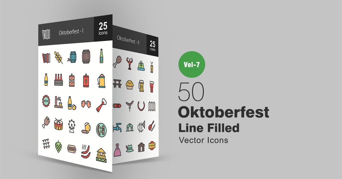 50 Oktoberfest Filled Line Icons by Unknow