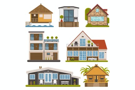 Set of Bungalows, Apartments and Houses