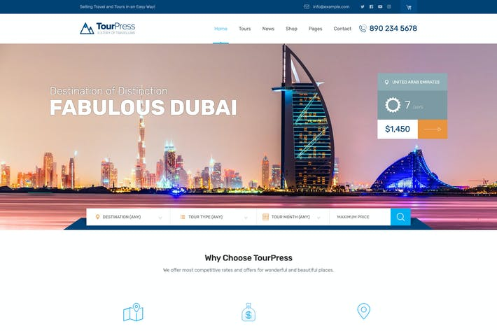 Thumbnail for TourPress - Travel Booking WordPress Theme