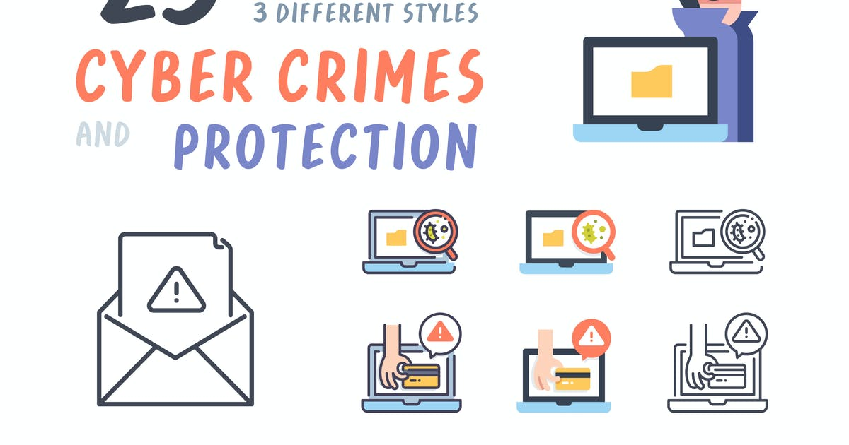 Download Cyber crimes and Protection icon set by Maxicons