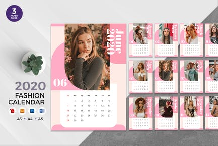 Trendy Fashion 2020 Calendar - AI, DOC, PSD