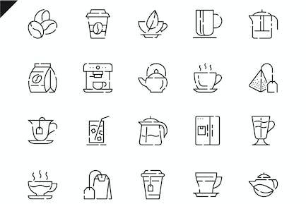 Simple Set Coffee and Tea Line Icons
