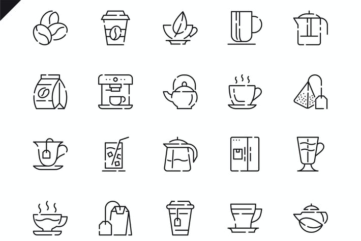 Thumbnail for Simple Set Coffee and Tea Line Icons