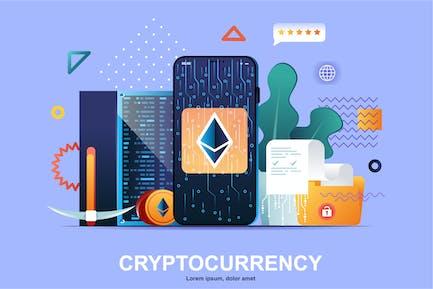 Crypto Mining Flat Concept Vector Illustration