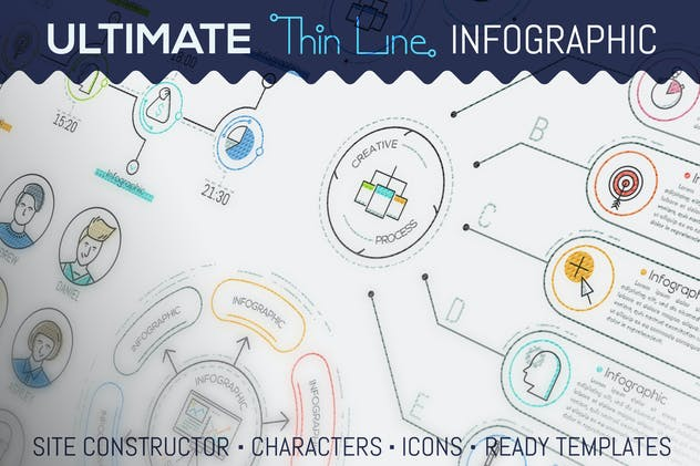 Ultimate Thin Line Infographic - product preview 15