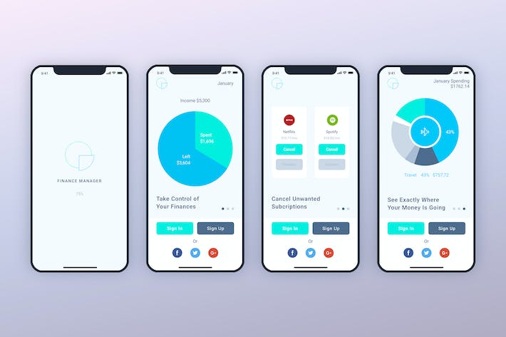 Thumbnail for Launch Screens Walkthroughs Finance Mobile UI - FP