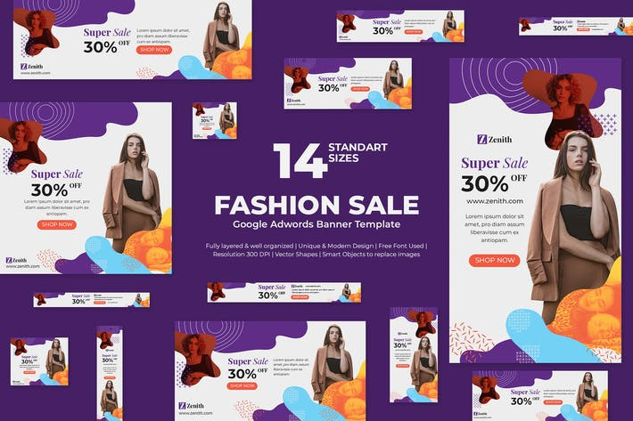 Thumbnail for Fashion Sale Google Adwords Banner Template