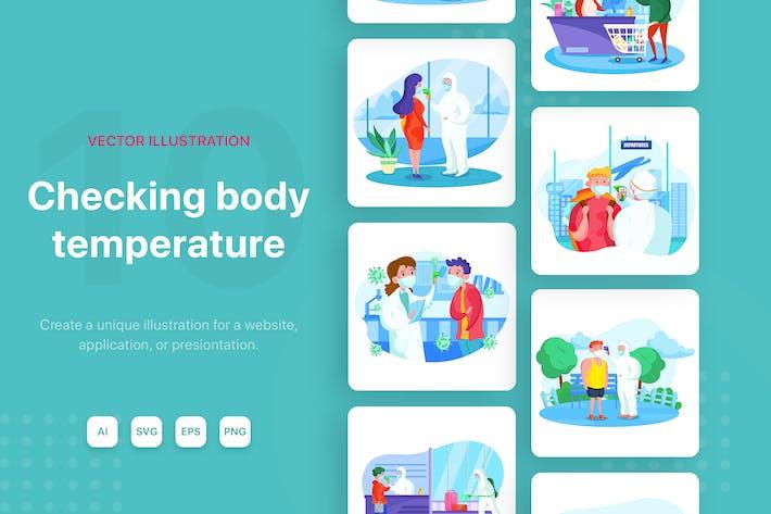 Checking body temperature illustrations
