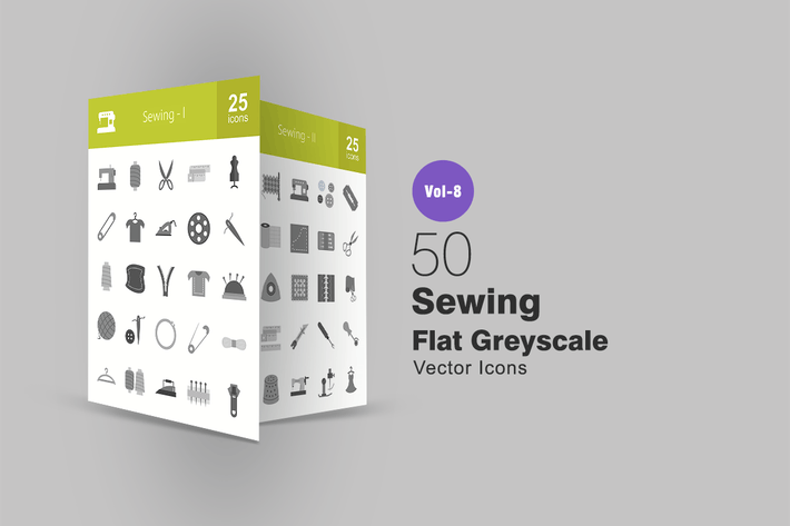 Cover Image For 50 Sewing Flat Greyscale Icons