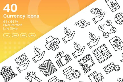 40 Currency Icons Set - Line