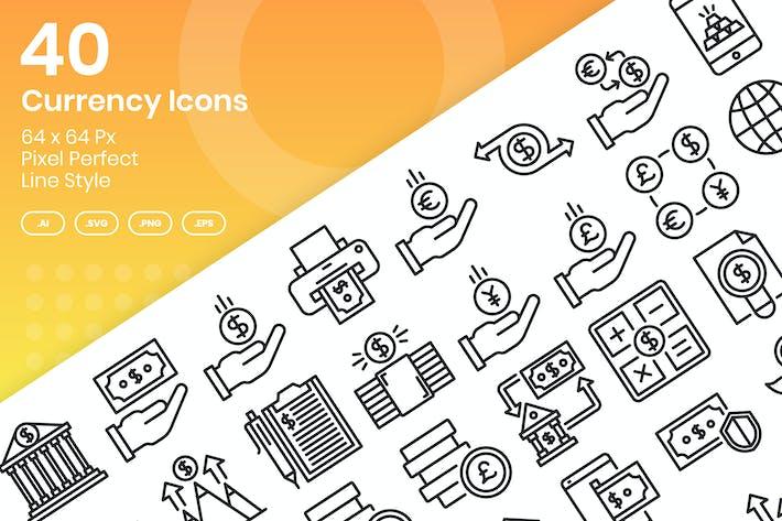 Набор Иконки валюты 40 - линия