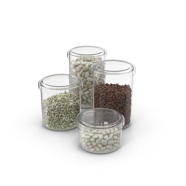 Jars Filled With Dried Beans