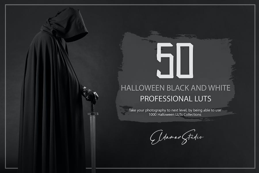 50 Halloween Black and White LUTs and PresetsPack