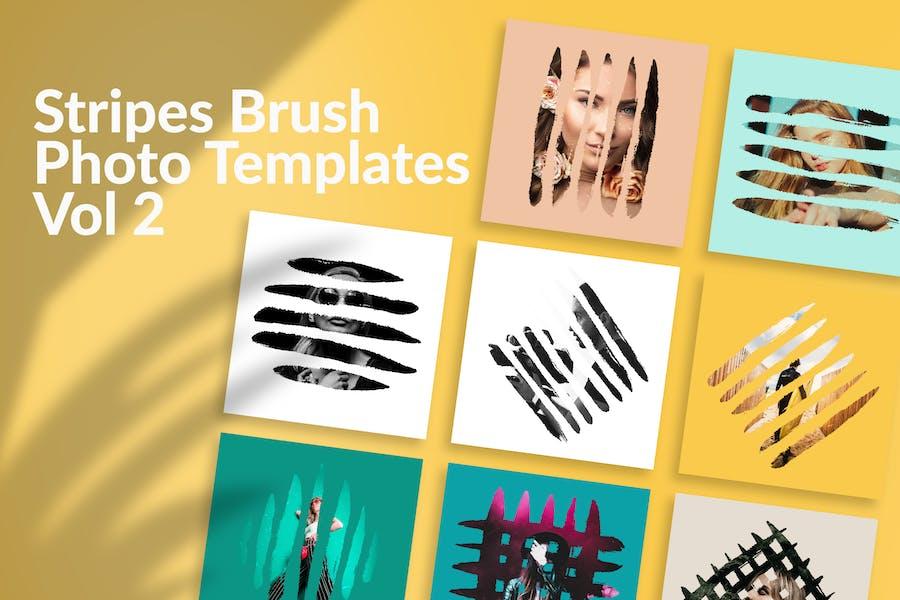 Stripes Brush Photo Templates Vol 2