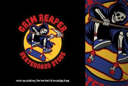vintage grim reaper skateboard logo