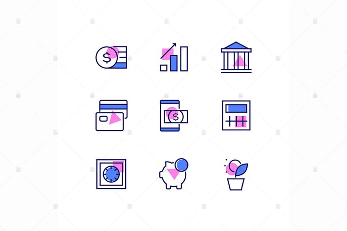 Thumbnail for Business and finance - line design style icons set