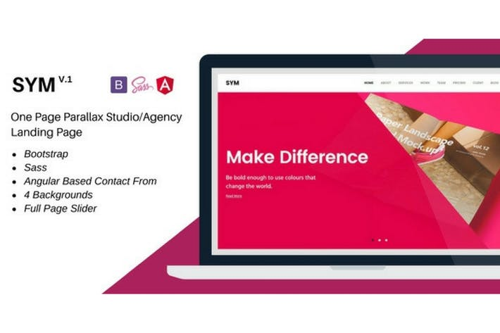 Thumbnail for Sym- One Page Parallax Studio/Agency Landing Page