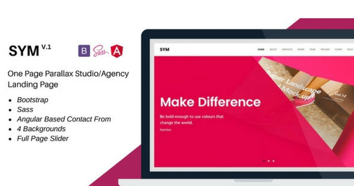 Download Sym- One Page Parallax Studio/Agency Landing Page by Hencework