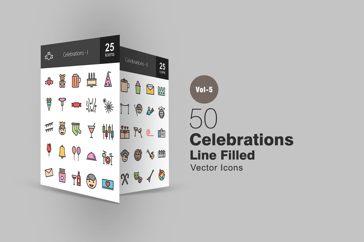 Thumbnail for 50 Celebrations Line Filled Icons